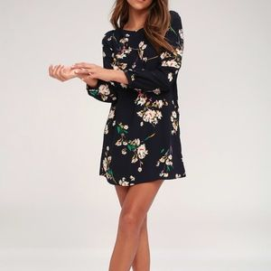 Lulu's Herbaceous Babe Navy Floral Shift Dress S